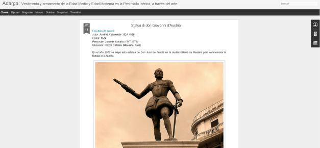 Captura de pantalla general de este gran blog de Historia de las vestimentas y el armamento peninsular