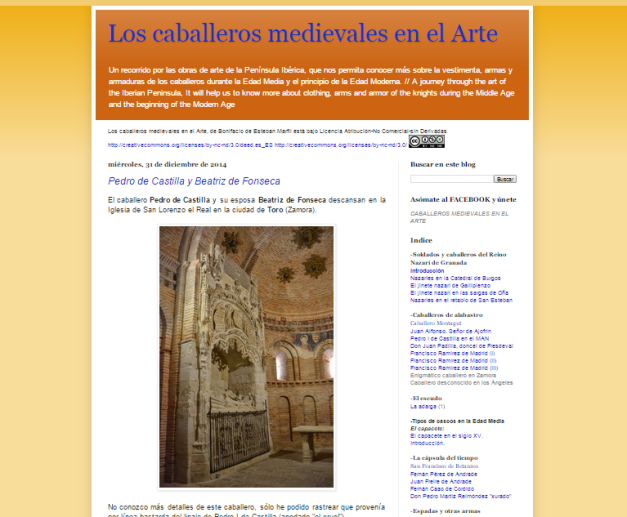 Captura de pantalla general de este gran blog de Historia del arte caballeresco peninsular