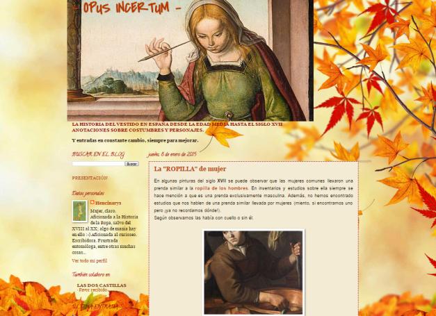 Captura de pantalla general de este gran blog de Historia del vestido