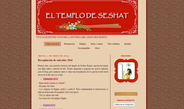 Captura de pantalla general de este gran blog reciente de Historia del Antiguo Egipto
