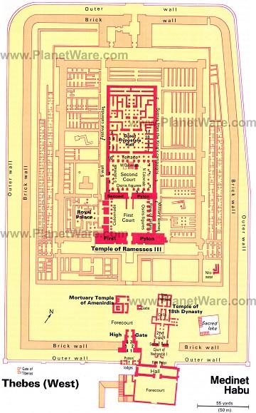 Plano explicado en inglés con las distintas partes del complejo de Medinet Habu