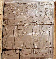 Relieve del templo de Amón en Karnak en el que se representa a Sheshonq I