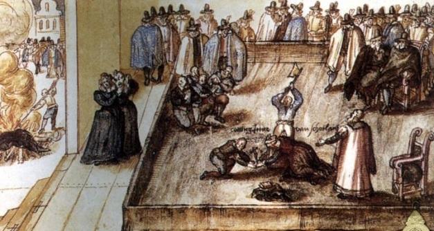 Acuarela de época en la que se muestra la ejecución de María Estuardo