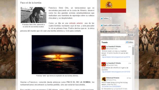 Captura de pantalla de una de las anécdotas curiosas de este blog de Historia de España