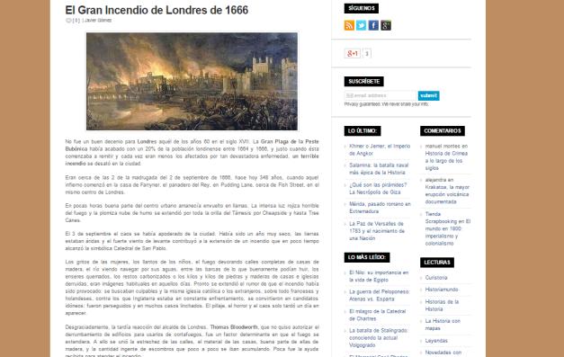 Captura de pantalla de uno de los artículos de esta gran web de turismo histórico