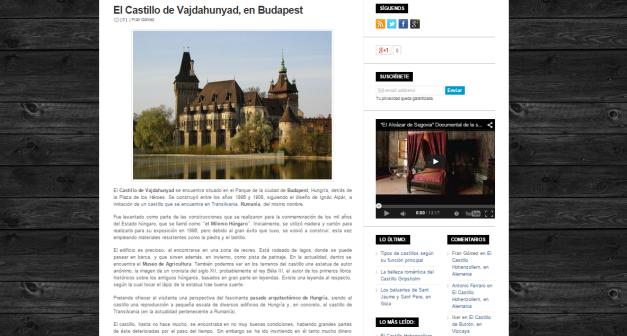 Captura de pantalla de uno de los artículos de este blog sobre los castillos del mundo