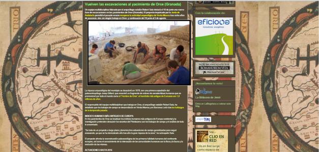Captura de pantalla de uno de los artículos de este gran blog de divulgación arqueológica española