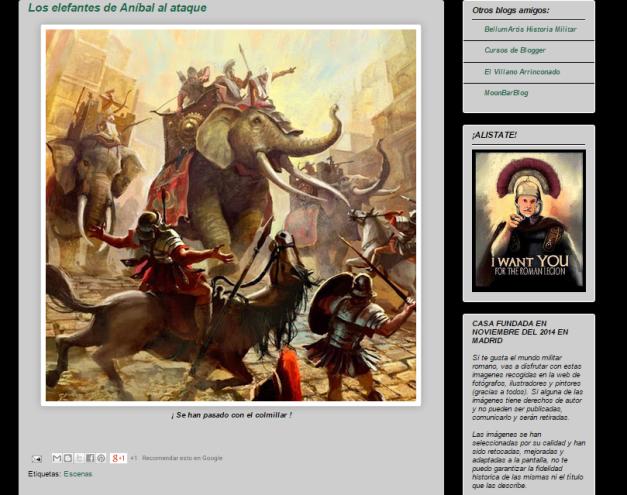 Captura de pantalla de uno de los artículos de este gran blog de Historia militar romana