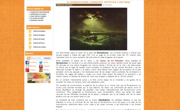 Captura de pantalla de uno de los artículos de este gran blog de Historia para todos los públicos