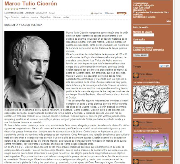 Captura de pantalla de uno de los artículos de este gran blog para amantes de la cultura clásica
