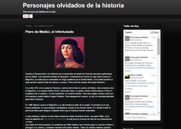 Captura de pantalla de uno de los artículos sobre personajes olvidados de este gran y olvidado blog histórico