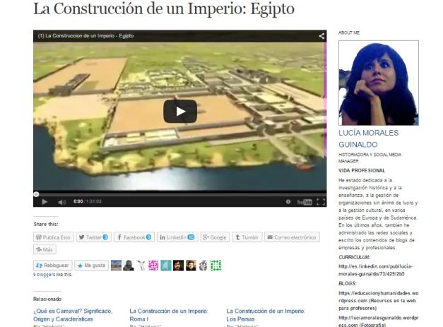 Captura de pantalla de uno de los vídeos de esta joven bloguera historiadora
