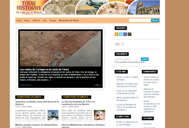 Captura de pantalla general de esta gran web para amantes de la Historia más turística