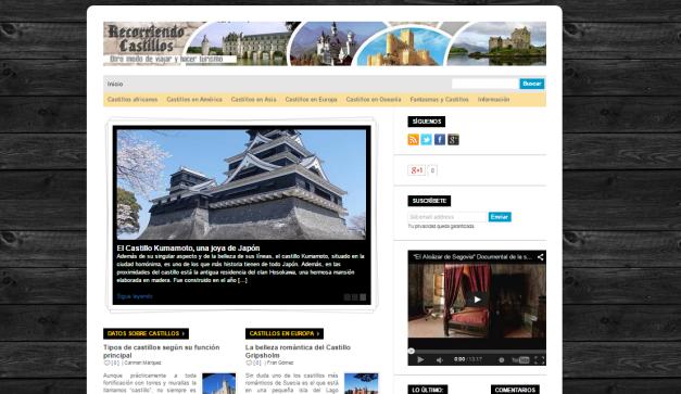 Captura de pantalla general de este gran blog de castillos del mundo
