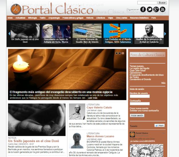 Captura de pantalla general de este gran blog de cultura e Historia clásica