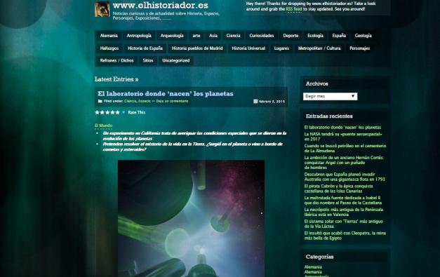 Captura de pantalla general de este gran blog de curiosidades de diverso tipo