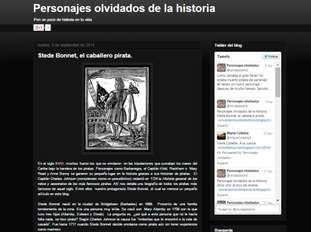 Captura de pantalla general de este gran blog de personajes históricos olvidados