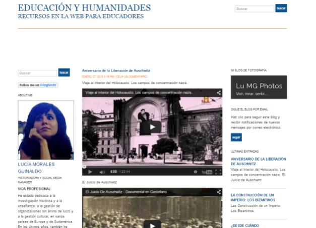 Captura de pantalla general de este gran blog de vídeos y recursos históricos