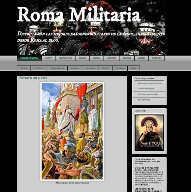 Captura de pantalla general de este gran blog para amantes de la Historia militar romana