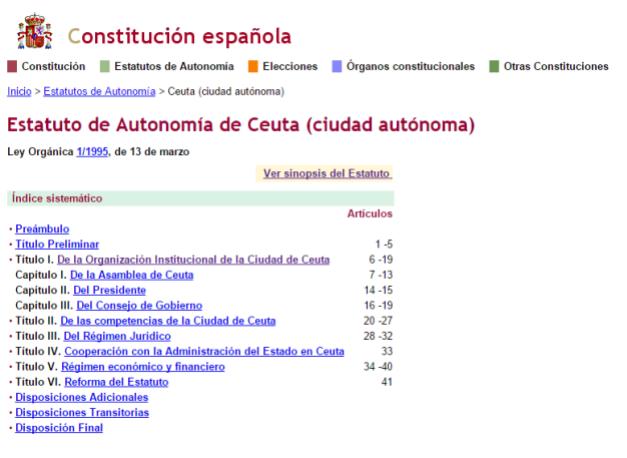 Captura de pantalla que muestra la organización del Estatuto de Autonomía de Ceuta en su versión online