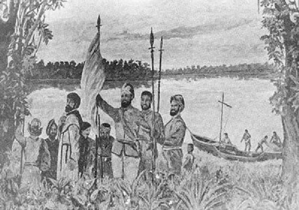 Cuadro que representa a Orellana durante el descubrimiento del Río Amazonas