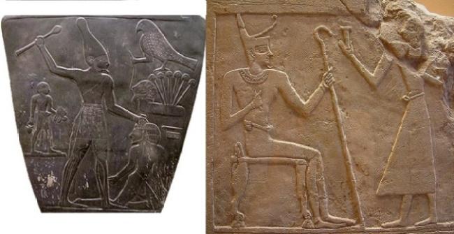 Imagen combinada en la que podemos ver la Paleta de Narmer y un relieve donde se representa a Montuhotep I