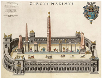 Dibujo que muestra los obeliscos del Circo Máximo
