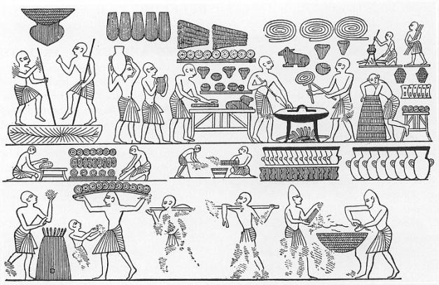 Dibujos de escenas de la tumba de Ramsés III en el que se ve la panadería real