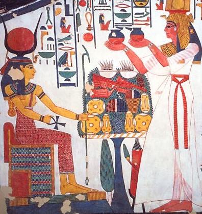 Imagen de la tumba de Nefertari en el que se representa una ofrenda de alimentos