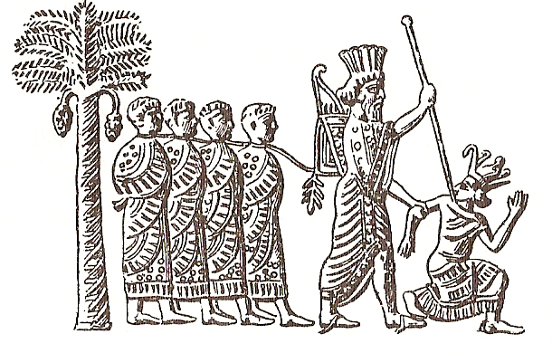 Imagen de un sello persa en el que Cambises de Persia hace preso a Psamético III de Egipto