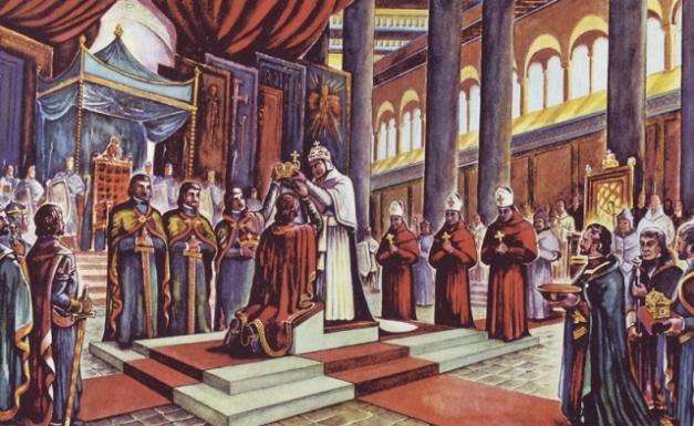 Imagen que mostraría a Otón I siendo coronado emperador por el papa Juan XII