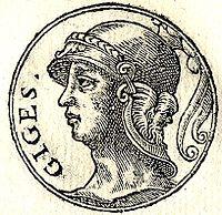 Imagen que muestra al rey Giges de Lidia, uno de los apoyos políticos de Psamético