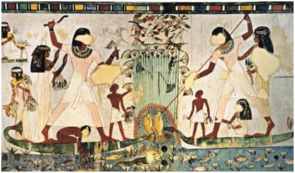 Imagen que muestra la caza y pesca en el Antiguo Egipto