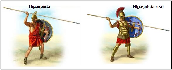 Imagen que muestra la reconstrucción de cómo serían los hipaspistas del ejército macedónico