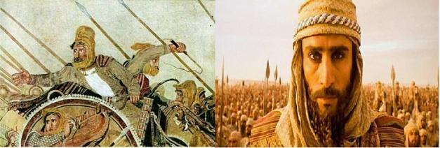 Imagen que representa el Darío III de Oliver Stone y el de la famosa imagen de la batalla de Issos