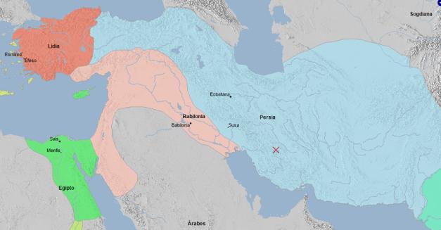 Mapa de Próximo Oriente en el que se ve la gran expansión persa y babilónica