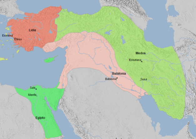 Mapa de Próximo Oriente y Egipto en el 560 a.C.