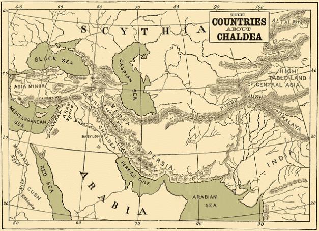 Mapa en inglés de Próximo Oriente a comienzos del imperio caldeo o neo babilónico