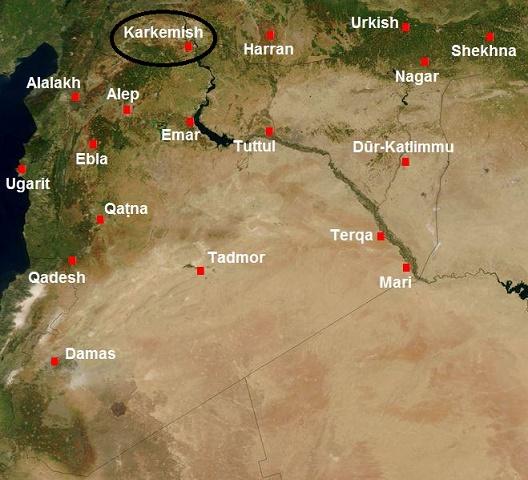Mapa parcial de Oriente Próximo en el que se ve la ubicación de la ciudad de Karkemish