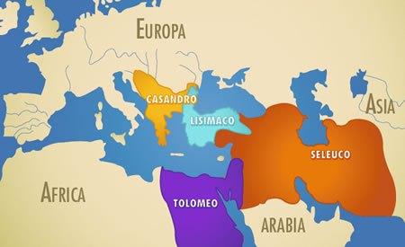 Mapa que muestra de forma más o menos aproximada la división de territorios tras la muerte de Alejandro Magno