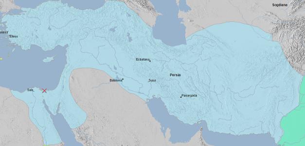 Mapa que muestra la extensión de uno de los mayores imperios de la Historia, el imperio aqueménida, tras la conquista de Egipto en el 525 a.C.