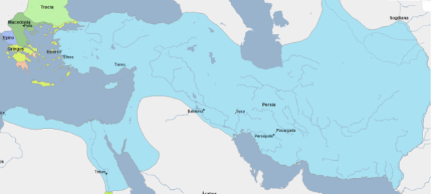 Mapa que muestra la extensión del imperio persa una vez que conquistaron Egipto en el 343 a.C.