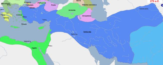 Mapa que muestra la gran extensión del imperio Seléucida al finalizar la Guerra de los Sucesores