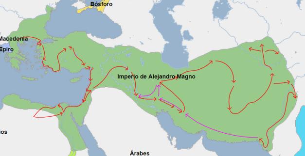 Mapa de la extensión del imperio de Alejandro Magno en el 323 a.C., año de su muerte.