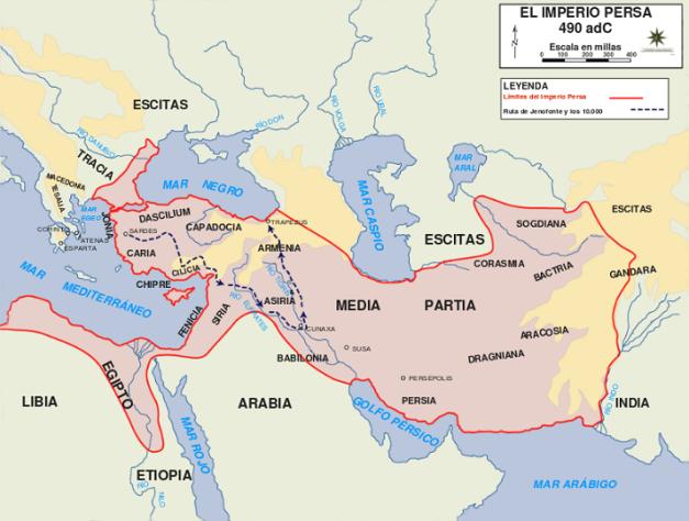 Mapa que muestra la inmensidad del Imperio Persa a finales del reinado de Dario I