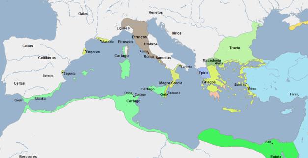 Mapa que muestra la situación de los estados del Mediterráneo a finales del siglo V a.C.