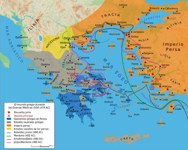 Mapa que muestra los Estados griegos durante las Guerras Médicas (guerra contra los persas)