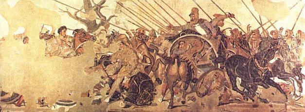 Mosaico de la Casa del Fauno de Pompeya en el que se representa la batalla de Issos de Alejandro Magno