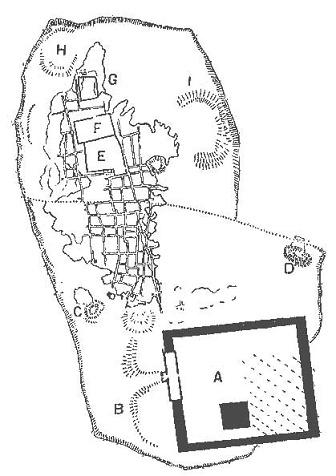 Plano que muestra las ruinas arqueológicas de la ciudad de Náucratis