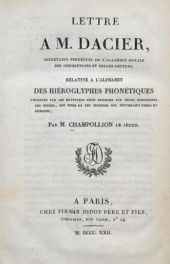 Portada del libro de Champollion Carta a Dacier